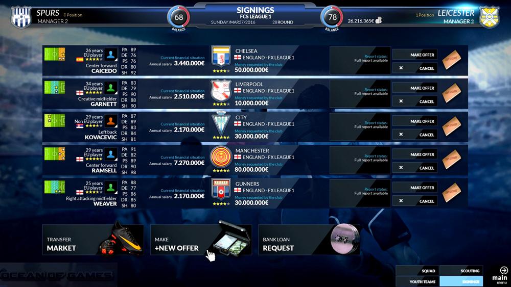 Football Club Simulator Features